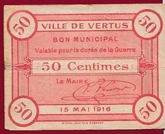 France 1 Bon De 0.50 Cts --Vertus  -  (51) Dans L 'état - Notgeld