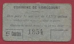 France 1 Bon De 0.05 Cts --Homécourt --(54)  Dans L 'état - Buoni & Necessità