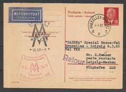 Aérophilatélie - DDR - Carte 1961 - Luftpost - Brüssel-Leipziger Messe - [6] Oost-Duitsland
