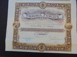 FRANCE - ANGERS 1923 - STE GENERALE TRAVAUX PUBLICS - ACTION DE 500 FRS  - BELLES VIGNETTES - Shareholdings