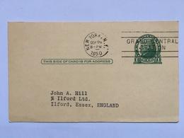 USA 1950 Stationary Card With Grand Central Station Postmark To England - Briefe U. Dokumente