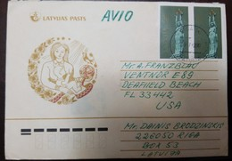 O) 2000 LATVIA, LIBERTY MONUMENT - RIGA SC 315 30k, MOTHER AND CHILD POSTAL CARD TO USA - Latvia