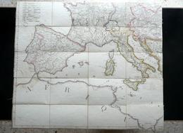 Carta Geografica Primo Impero Francese Napoleone Primo '800 Francia Italia - Altre Collezioni