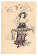 Cpa...illustrateur Cabant...les Halles...jeune Femme Avec Un Plateau De Fruits Et Légumes... - Cabant