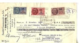 "Traite 1939 / 54 NANCY Ste Des Sels ""SOCOSEL"" / Timbres Fiscaux 10F, 3F & 20c - Fiscaux"