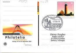 "BRD Amtl. GZS-Sonderpostkarte PSo 87 ""Philatelia Leipzig"" WSt ""Leuchtturm Greifswalder Oie"" SSt. 2.10.2004 HANAU - BRD"