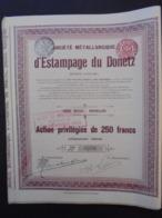 RUSSIE - METALLURGIQUE D'ESTAMPAGE DU DONETZ - ACTION PRIVILEGIEE 250 FRS - BRUXELLES 1909 - LOT 10 TITRES IDENTIQUES - Shareholdings