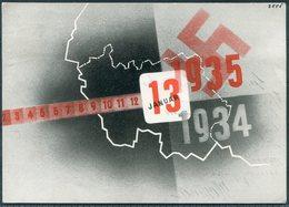 1935 Germany Saar Referendum Postcard. Saarbrucken - Hannover - Covers & Documents