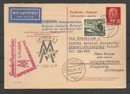 Aérophilatélie - DDR - Carte 1961 - Luftpost - Sabena - Leipzig-Brüssel - Luxembourg - [6] Oost-Duitsland