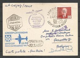 Aérophilatélie - DDR - Carte 1962 - Luftpost - Leipzig - Vol Sabena Bruxelles-Malaga - [6] Oost-Duitsland