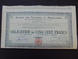 FRANCE - PAS DE CALAIS, RACQUINGHEM 1920 - TUILERIES ET BRIQUETERIES - OBLIGATION DE 500 FRS - Shareholdings