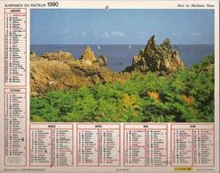 Calendriers. Grand Calendrier P.T.T. 1990. Ile De Bréhat - Maison Et Son Jardin. Plan Ville De Haute-Savoie 74(facteur) - Calendriers