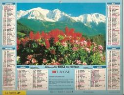 Calendriers. Grand Calendrier P.T.T. 1993. Le Mont-Blanc - Combloux. Plan Villes De Haute-Savoie 74(facteur) - Calendriers
