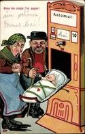 Lithographie Tous Les Coups L'on Gagne, Automat, Baby, Ehepaar, Neugeborenes - Métiers
