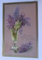Namenstag, Vase, Blumen, Flieder,  1909, Prägekarte  ♥ (39024) - Feiern & Feste
