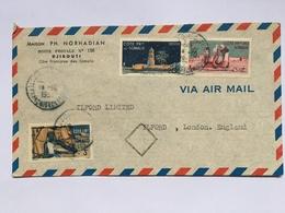 FRENCH SOMALI COAST 1950`s Air Mail Cover Djibouti To London - French Somali Coast (1894-1967)