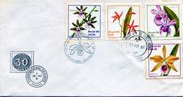 BRASIL 1980 FDC SAO PAULO ORQUIDEAS BRASILERAS FLOWERS  - NTVG. - Gebruikt
