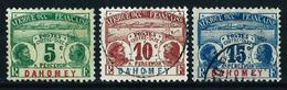Dahomey (Francés) Nº Tasa-1-2-3 Usado - Dahomey (1899-1944)