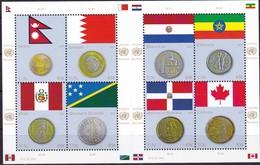UNO-New York, 2012, 1294/01,  MNH **,   Flaggen Und Münzen Der Mitgliedstaaten - New York -  VN Hauptquartier