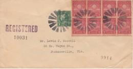 . US Fancy Registered Recommadée XX Th ..soleil Sur Enveloppe .. Jacksonville - United States