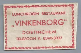 Suikerzakje.- DOETINCHEM. Lunchroom Restaurant. - VINKENBORG -. Suiker Sucre Zucchero Zucker Sugar - Suiker
