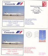 Concorde , 2 Enveloppes ,1er Vol Paris - Cardif Et Cardif - Paris,1979 ,avec Certificat ,2 Scans - Luftpost