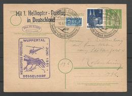 Aerophilatelie - Deutschland - Luftpost - Karte 1951 - Helikopter Postflug Wuppertal-Elberfeld-Düsseldorf-Rosenheim - [7] République Fédérale