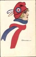 Artiste Cp Marianne, Junge Frau In Mütze Und Schal, Französische Fahne - Militari
