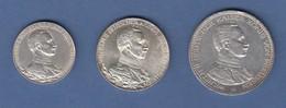 Deutsches Kaiserreich Preußen Wilhelm II. In Uniform Silbermünzensatz 2-3-5 Mark - [ 2] 1871-1918: Deutsches Kaiserreich