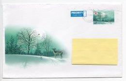 Postal Stationery Christmas COVER - RED CROSS Finland - WINTER LANDSCAPE - DEER - BIRD / BULLFINCH - Finlandia