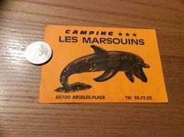 Autocollant, Sticker Fluo « CAMPING LES MARSOUINS - ARGELES-PLAGE (66) » (dauphin) - Autocollants