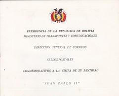"""BOLIVIA. """"JUAN PABLO II"""" LIBRETA CON 16 SELLOS POSTALES CONMEMORATIVOS A LA VISITA DE SU SANTIDAD. 1988 FDC -LILHU - Popes"""