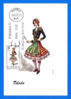 España. Spain. 1970. FDC. Traje Regional. Toledo. Tarjeta Maxima. Maximun Card - Tarjetas Máxima