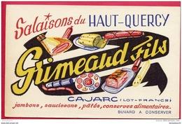 """BUVARD (Réf : V 415) SALAISONS DU HAUT QUERCY """"""""GRIMEAUD FILS""""""""  CAJARC LOT """"""""BUVARDS, PROTÈGE CAHIERS ILLUSTRÉS """""""" - Alimentare"""