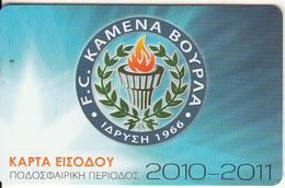 GREECE - FC Kamena Vourla(reverse HSCC), Season Ticket 2010-2011, Unused - Sport