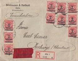 DR R-Eilbote-Brief Mef Minr.10x 309A Cöln 11.10.23 Gel. Nach Krebsörge (Rheinland) - Deutschland