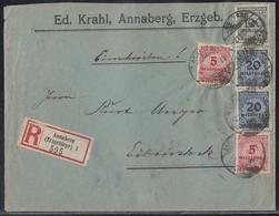 DR R-Brief Mif Minr.2x 317,2x 319A,322 Annaberg 2.11.23 Gel. Nach Eibenstock - Deutschland