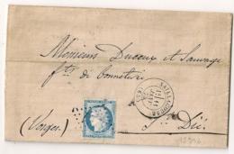 Origine LLIVIA Espagne Frontalier, GC SAILLACOUSE Pyrénées Orientales Pour ST DIE Vosges. PASSE 1307. - 1849-1876: Période Classique