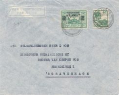 Nederlands Indië - 1935 - 40 Cent Wilhelmina + 42,5 Cent Opdrukzegel Op LP-cover Van PV1 Makasser Naar Den Haag - Indes Néerlandaises