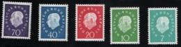 1959 Theodor Heuss Mi:DE 302 - 06 Sn DE 793 - 97 Yt DE 173- 77 Sg: DE 1219 - 23   Postfr. Xx - [7] République Fédérale