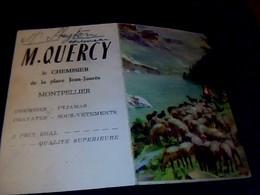"""Carton Publicitaire M.QUERCY Chemisier à Montpellier Sur Carte """"d Immatriculation Des Véhicules Automobile"""" Année ? - Mappe"""