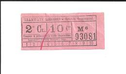 1 Ticket Très Ancien. Tramways Liégeois (Belgique). Réseau Communal. Voir Description - Tram