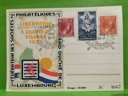 Luxembourg, Journée Du Timbre 1945. Libération - Herdenkingskaarten