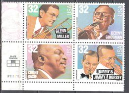 United States 1996 Big Band Leaders - Sc # 3096-99 - Mi.2760-63 Block Of 4 - Used - United States