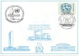 UNO WIEN Weiße Karte Nr. 59, Ausstellungskarte: Osnabrück 1986 - Wien - Internationales Zentrum