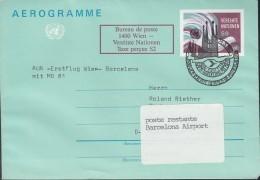 UNO WIEN Umschlag LF 2, Friedenstaube 1986 Mit SoSt: AUA Erstflug Wien-Barcelona 24.3.1986 - Wien - Internationales Zentrum
