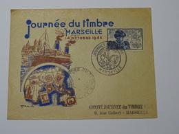 Lettre  JOURNEE DU TIMBRE 13 OCTOBRE 1945 MARSEILLE LOUIS XI CRÉATEUR DE LA POSTE D'ETAT - Lettres & Documents