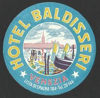 ITALY VENEZIA Hotel BALDISSERI Luggage Label - D = 10 Cm (see Sales Conditions) - Adesivi Di Alberghi