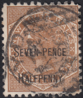 New South Wales 1891 Used Sc 93 Seven-Pence Halfpenny On 6p Victoria Perf 11 X 12 - 1850-1906 New South Wales