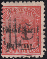 New South Wales 1891 Used Sc 94b Twelve-Pence Halfpenny On 1sh Victoria Perf 10 X 10 Variety - 1850-1906 New South Wales